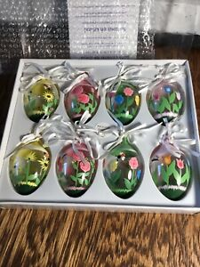 Vtg 2000 Princess House Crystal Hand Painted Easter Eggs Ornaments Glass