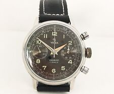 Vintage Yema Chronograph Watch Military Dial Valjoux 92