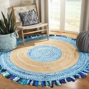 Jute and Cotton natural 100% Beautiful Area Rugs Round sky blue Home Décor Rugs