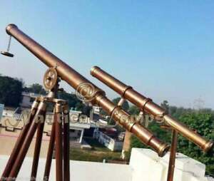 """39"""" FUNCTIONAL Antique Brass Brown Griffith Double Barrel Telescope Tripod Stand"""