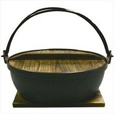 "Cast Iron Shabu Shabu Cooking Pot Sukiyaki Nabe 9.5"" 821-24 S-1805"