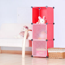 DIY Home Storage Cube Cabinet for Clothes, Shoes, Bags, Office, Red (3) Cubitbox