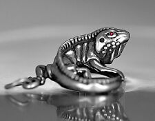 LOOK 3D Iguana ruby eyes Pendant charm Solid Authentic sterling silver Lizard Je