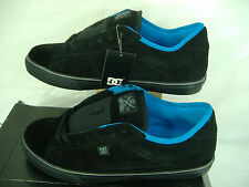 New Mens 12 DC Crew S Black Blue Suede Leather Skate Shoes $65