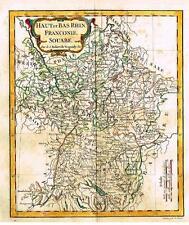 "Vaugondy Map -1778- ""HAUT & BAS RHIN, FRANCONIE & SOUABE"" - Hand-Colored"