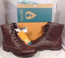 NEW SPORTO Faux Brown Leather Boots Size 10 Thermo Fur Lined Womens Hike Shoes