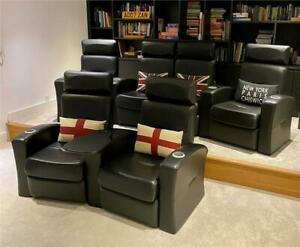 Salamander Home Cinema Seats, excellent cond., 6 (4+2) black leather recliners.