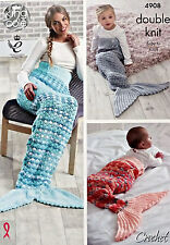CROCHET PATTERN Ladies Baby Easy Mermaid Fishtail Snuggle Blanket King Cole 4908