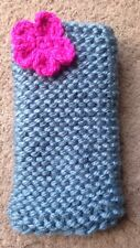 Hand knitted Mobile phone sock/cover/case Blue With Pink flower detail