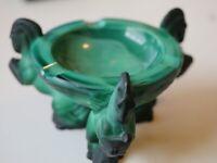 1930s Czech Art Glass Ashtray - Malachite -Pegasus Ashtray by Schlevogd Ingrid