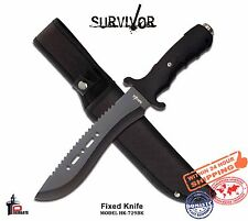 Survivor Outdoor Fixed Blade Knife Saw Back Blade Rubber Handle Sheath Hk-729Bk
