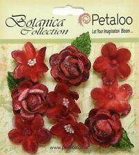 Vintage Velvet Mini Red Blossoms X 9 Fabric Flowers 25-30mm Petaloo C