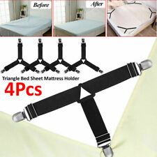 4pcs Triangle Bed Sheet Mattress Fastener Grippers Clips Suspender Straps Holder
