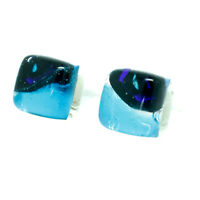 Murano Glass Earrings Blue and Black Millefiori Handmade Venice Stud Square