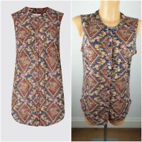 NEW Ex M&S Sleeveless Shirt Top Size 10 - 20 Abstract Print