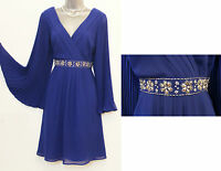 MONSOON Lana Blue Embellished Waist Pleated Sleeve Cocktail Dress size UK12 EU40