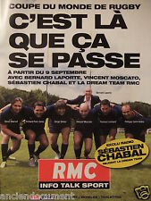 PUBLICITÉ 2011 RMC EXCLU RADIO SÉBASTIEN CHABAL RUGBY - ADVERTISING