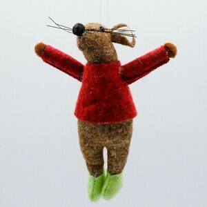 Brown MOUSE red jumper CHRISTMAS TREE DECORATION felt fabric NEW from CoCo&Ned