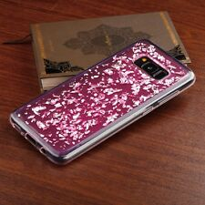 For Samsung Galaxy S8 Clear Pink Silver Flake Soft Gel Rubber Silicone Skin Case