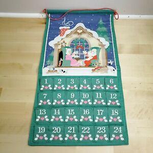 Vintage Avon Fabric Advent Calendar 1997 ~ Countdown To Christmas ~ NO MOUSE EUC