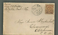 1908 Mexico cover Saltillo, Coahuila to Claremore Ok with back stamp