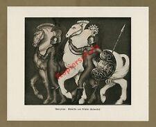 Nikolaï Kalmakoff Amazones antique érotique nue COMBAT LANCE CHEVAUX ART DECO 1927