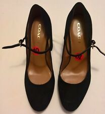 """Coach Black Suede Goldie Mary Jane Platform Pumps,10 B(M), Round Toe, 4.5"""" heel"""