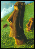 5x7 Mini Print Easter Island Rapa Nui Moai Polynesian Lowbrow Art Tiki Bar Decor