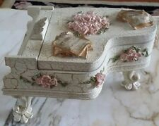 "Ornate Floral Dezine Piano ""Love Story"" Trinket Music Box"