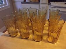 4 Vintage Anchor Hocking Light Amber Tumblers Drinking Glasses Honey Gold