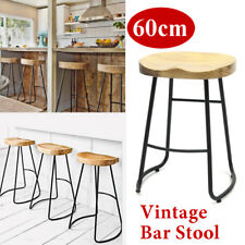 US 60cm Metal Wood Bar Stool Retro Barstool Industrial Dining Chair Seat Vintage