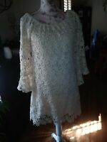 Union Of Angels Cream Knit Crochet Dress Flutter Sleeves Size L Gorgeous
