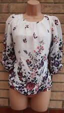 FLORENCE & FRED WHITE FLORAL BUTTERFLY BUBBLE BAGGY BLOUSE TUNIC TOP CAMI 6 XS