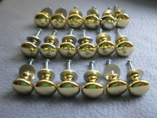 Lot of 18 Solid Brass Round Cabinet Knobs with Screws