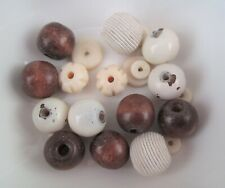 34g Vintage Cream & Brown Bead Mix - Ceramic, Wood Beads Approx 8 - 15mm