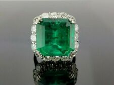 5 Ct Emerald Cut Colombian Gemstone Vintage Women's Ring 14K White Gold Over