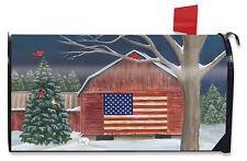 Barnside Winter Magnetic Mailbox Cover American Flag Seasonal Standard