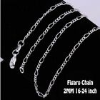 "925 STERLING SILVER FILLED 2MM MENS WOMEN 16-24"" CHARM NECKLACE FOR PENDANT Gift"