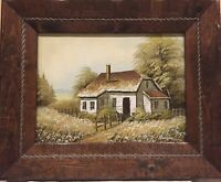 """Canvas Oil Painting of a Little House Signed HENSON, 22""""x18"""", Wood Frame W/Rope"""