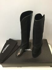 Authentic Chanel Ascot Riding Boots Black Leather 37 1/2 C