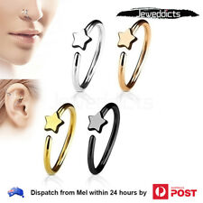 Piercing Ring Hoop for Nose Ear Lip Helix Star Surgical Steel Body Jewellery