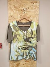 Rabe Green Shoulder Pad Bird Printed T-Shirt Size UK 16