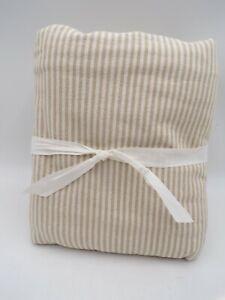 Pottery Barn Wheaton Striped Linen Cotton Duvet Cover King Cal King Flax #L175