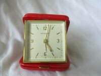 Swiss Made Bucherer Travel Alarm Clock Wind Up Handheld Red Gold Toned WORKING!