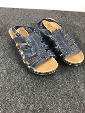 Clarks Bendables 10 W Excellent Cond Dark Blue Sandals D04