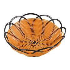 7 inch Plastic Braided Basket Fruit Vegetable Cookies Container Holder Black&ora