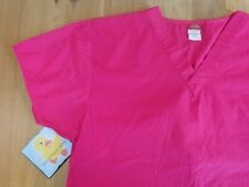 Dickies Scrub Top Size Large Solid Hot Pink Short Sleeves
