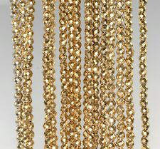 """3MM 18K GOLD HEMATITE GEMSTONE FACETED ROUND 3MM LOOSE BEADS 15.5"""""""
