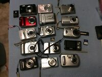 Lot of 15 Point & Shoot Digital Cameras  Sony Canon & Others NOT Tested AS IS #A