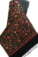 Medium Black Wool Shawl Embroidered With Vines & Flowers Pashmina Kashmiri Ari